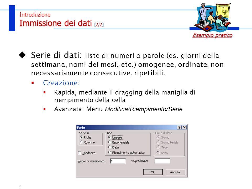 Introduzione Immissione dei dati [2/2]